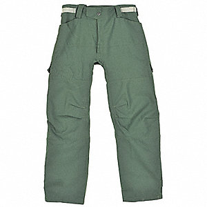 "NOMEX IIIA Fire Pants, Forest Green, 34"" Inseam, Fits Waist Size 43"" to 45"""