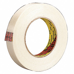 55m 6.60 mil Polypropylene Film Filament Tape, Clear, 1 EA