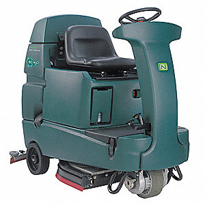 Rider Floor Scrubber, ec-H2O, 1,500 RPM Brush Speed, Cylindrical Deck Style, 0.6 hp