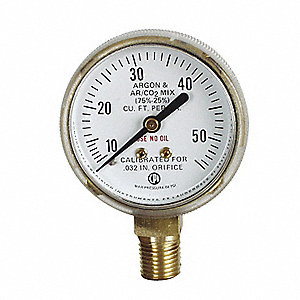 GAUGE 2IN 10-50 SCFH ARGON/C02