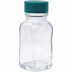 BOTTLE GLASS WIDE MOUTH SQUARE 1 OZ
