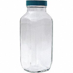 BOTTLE GLASS WIDE MOUTH SQUARE 16OZ