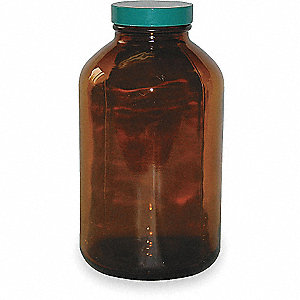 BOTTLE GLASS WIDE MOUTH AMBER 32OZ