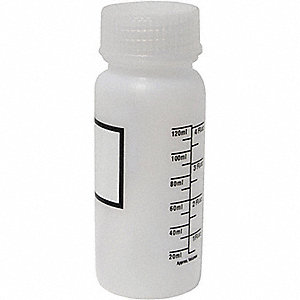 BOTTLE LDPE WIDE AMBER 4 OZ W/LABEL