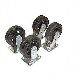 CASTERS HOPPER MOLD-ON-RUBBER 6IN
