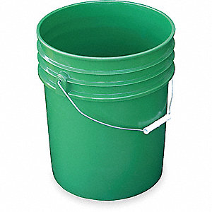 PAIL HDPE GREEN 5 GAL STEEL HANDLE