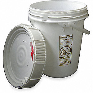 PAIL HDPE SCREW-TOP 5 GAL WHITE