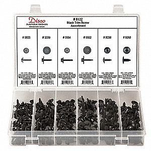 Black Trim Screw Assortment,210 Pc