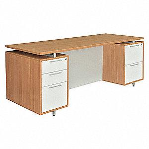 Office Desk, 71 X 30 X 30 In, Amber/Gray