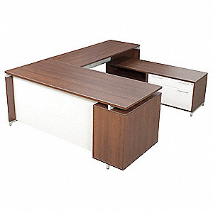 "OneDesk U-Shape Workstation, Overall Height 20"" to 30"", Overall Width 71"", Overall Depth 60"" to 84"""