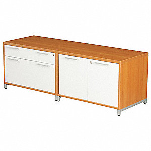 "60"" x 20"" x 20"" OneDesk Series Low Credenza, Amber/Gray"