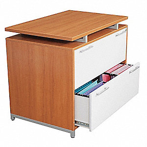 "36"" x 24"" x 30"" 2-Drawer One Desk Series File Cabinet, Amber/Gray"