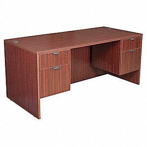 Merveilleux Office Desk, 66 X 29 X 30 In, Mahogany