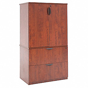 "36"" x 24"" x 65"" Legacy Series Storage Cabinet w/ Lateral File Cabinet, Cherry"