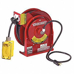 Red Retractable Cord Reel, 20 Max. Amps, Cord Ending: Duplex GFCI Box Receptacle, 45 ft. Cord Length