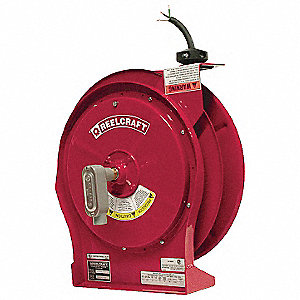 Red Retractable Cord Reel, 16 Max. Amps, Cord Ending: Flying Lead, 50 ft. Cord Length