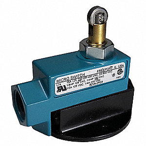 Plunger, Roller General Purpose Limit Switch; Location: Top, Contact Form: 1NC/1NO, Release Force 0.