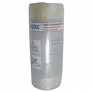 "Nylon Twine, 1/16"" Rope Dia., 1050 ft. Length, White"