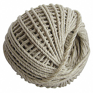 "Cotton Twine, 1/16"" Rope Dia., 400 ft. Length, Cream"