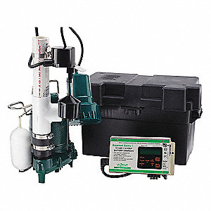 1/2 HP Sump/Battery Back-Up Combination System, Discharge NPT (In.): 1-1/2, Max. Flow (GPH): 4320