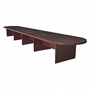Conference Table,52 In x 20 ft,Mahogany
