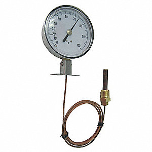 Analog Panel Mt Thermometer,0 to 160F