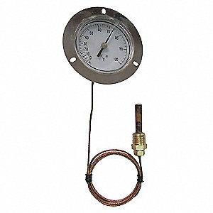 Analog Panel Mt Thermometer,0 to 100F