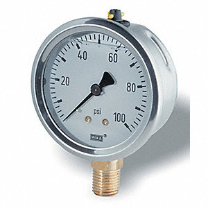 GAUGE PRESSURE 0-600PSI 2-1/2IN
