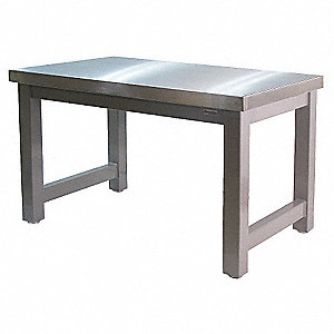 "Ergonomic Workbench, 96"" Length, 30"" Width, Grade 304 Stainless Steel"