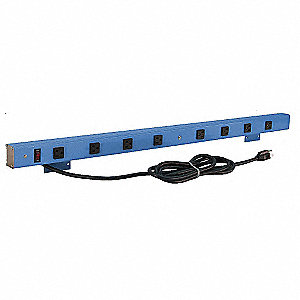Power Strip,66 W x 4 D x 2 in. H,Black