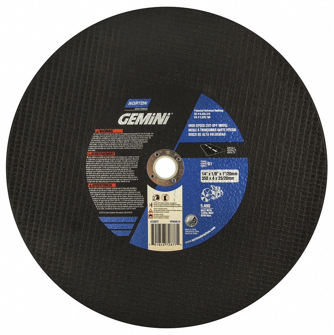 x 1 In High Speed Reinforced Concrete Cut-Off Blade Norton 5400 RPM 14 In x 1//8 In
