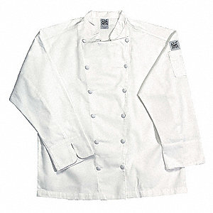 Long Sleeve Men's Chef Jacket with Traditional Collar, White, M