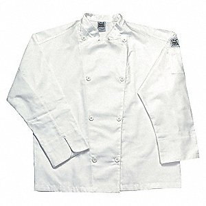 Long Sleeve Men's Chef Jacket with Traditional Collar, White, S
