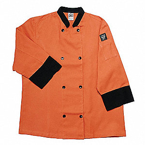 3/4 Sleeve Unisex Crew Jacket with Mandarin Collar, Spice, S