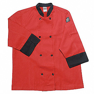 3/4 Sleeve Unisex Crew Jacket with Mandarin Collar, Red, L