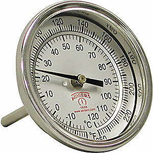 THERMOMETER 0/250F 3X2.51/2 NPT BCK