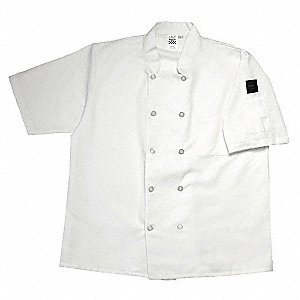 Short Sleeve Unisex Crew Jacket with Mandarin Collar, White, S