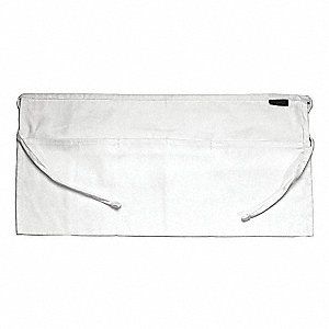 Waist Apron,3 Pocket,White,12 x 24 In