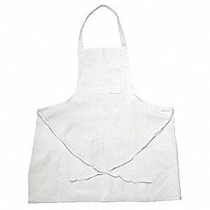 "34"" x 34"" Bib Apron, White, One Size Fits All"