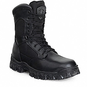 "9""H Men's Work Boots, Composite Toe Type, Leather and Nylon Mesh Upper Material, Black, Size 8W"