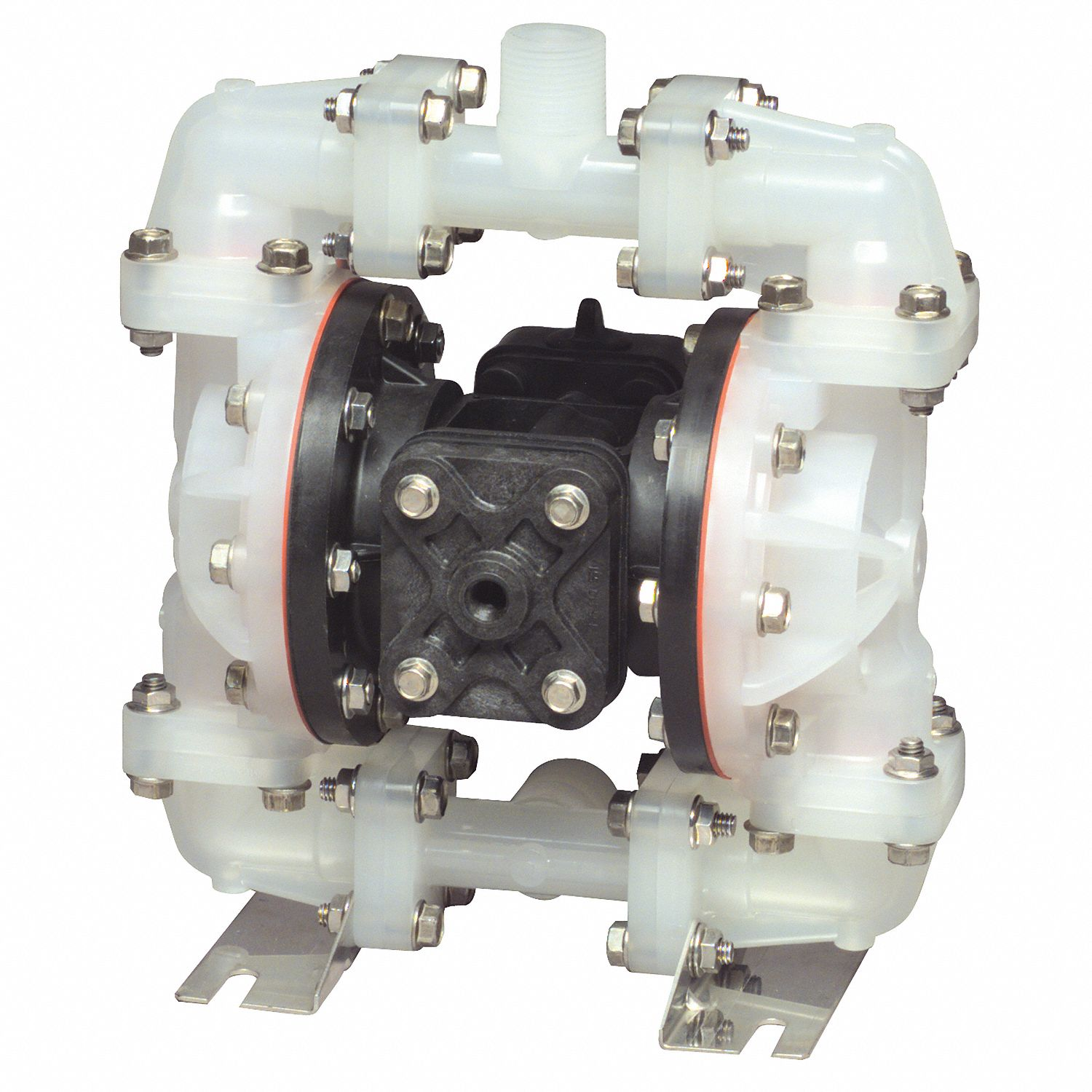Double Diaphragm Pump,  14 gpm Max. Flow,  Santoprene(R),  Multiport Manifold Connection,  1/2 in