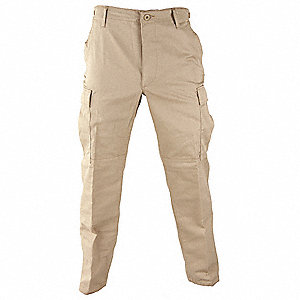 "Men's Tactical Pants. Size: S, Fits Waist Size: 27"" to 30"", Inseam: 32-1/2"" to 35-1/2"", Khaki"