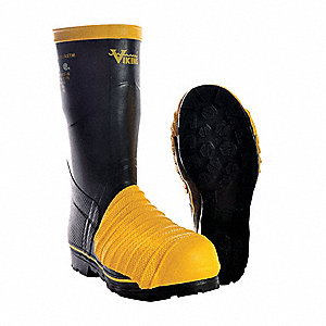 "14""H Unisex Mining Boots, Steel Toe Type, Rubber Upper Material, Black/Yellow, Size 11"