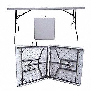 TABLE, FOLD IN HALF, 6 FT, PE+STEEL
