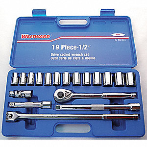 SOCKET SET METRIC 1/2 DR 6PT 19 PCE