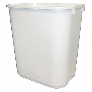 Wastebasket,Rectangular,7 gal.,White