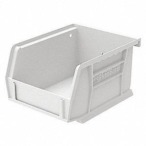"Hang and Stack Bin, White, 5-3/8"" Outside Length, 4-1/8"" Outside Width, 3"" Outside Height"