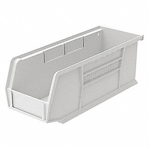 "Hang and Stack Bin, White, 10-7/8"" Outside Length, 4-1/8"" Outside Width, 4"" Outside Height"