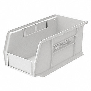 "Hang and Stack Bin, White, 10-7/8"" Outside Length, 5-1/2"" Outside Width, 5"" Outside Height"