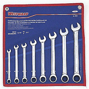 WRENCH RATCHET COMB SET SAE 8PC